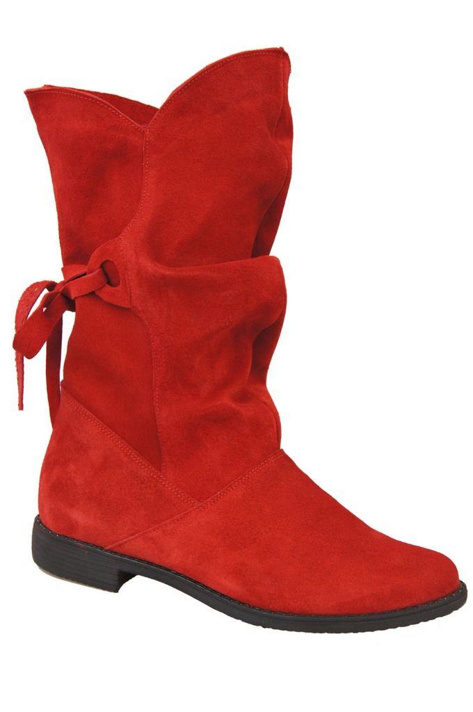 Czerwone botki damskie z materiału Buty damskie Sale